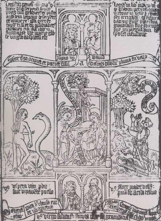Marias bebudelse, som den skildret på første blad af Biblia Pauperum (ca. 12. årh.).