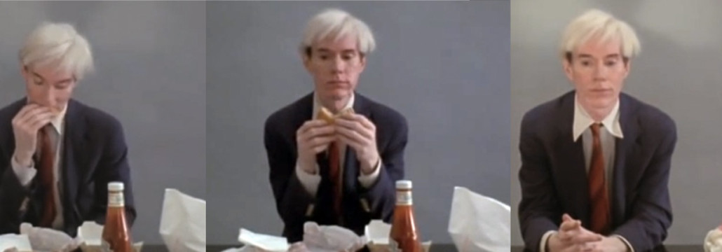 "Andy Warhol eating a hamburger (fra Jørgen Leths ""66 scenes from America"", 1982)"