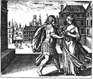 Læg en tudse til kvindens bryst så den kan malke hende til døde og blive fed af mælken. (Emblem med tilhørende epigram fra Michael Maiers 'Atalanta Fugiens' (1618). Illustration og citat fra 'Alt under månen')
