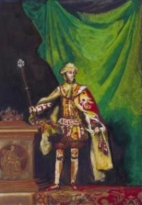 Bogen er rigt illustreret med Dario Fos egne pasticher over portrætter fra perioden. Her er det kong Christian 7. ham selv.