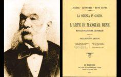 Pellegrino Artursi (1820-1911) og titelbladet til hans berømte kogebog.