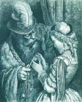 Illustration til eventyret Blåskæg fra Gåsemors eventyr (opr. 1697) af Charles Perrault (Ill.: Gustave Doré)
